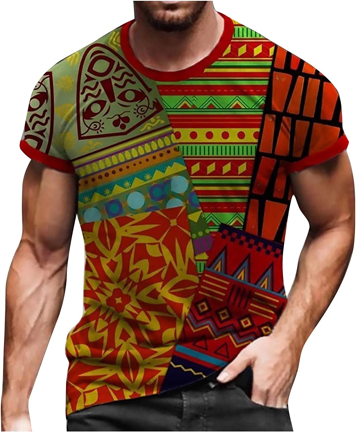 MAYW Men's Sale price Soldier Short Ranking TOP13 Sleeve T-Shirt Printed 3D Shirt Comfort