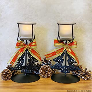 BANBERRY DESIGNS Christmas Candle Holders - Set of 2 Black Wrought Iron Xmas Tree Design with Bows - Christmas Centerpiece Candles