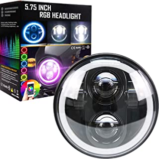 Belt&Road 5 3/4 Inch RGB Halo LED Headlight for Harley Davidson Iron 883, Street Bob, Super Wide Glide, Dyna, Low Rider Night Rod, With Muti color Halo RGB Angel Eye-NEW VERSION