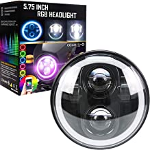 Belt&Road 5 3/4 Inch RGB Halo LED Headlight for Harley Davidson Iron 883, Street Bob, Super Wide Glide, Dyna, Low Rider Night Rod, With Muti color Halo RGB Angel Eye-NEW VERSION