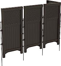 Best Suncast 4 Freestanding Wicker Resin Reversible Outdoor Panel Screen Enclosure, Brown Review