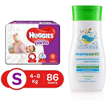 Huggies Wonder Pants Small Size Diapers, 86 Count & Mamaearth Deeply nourishing wash for babies (200 ml, 0-5 Yrs)