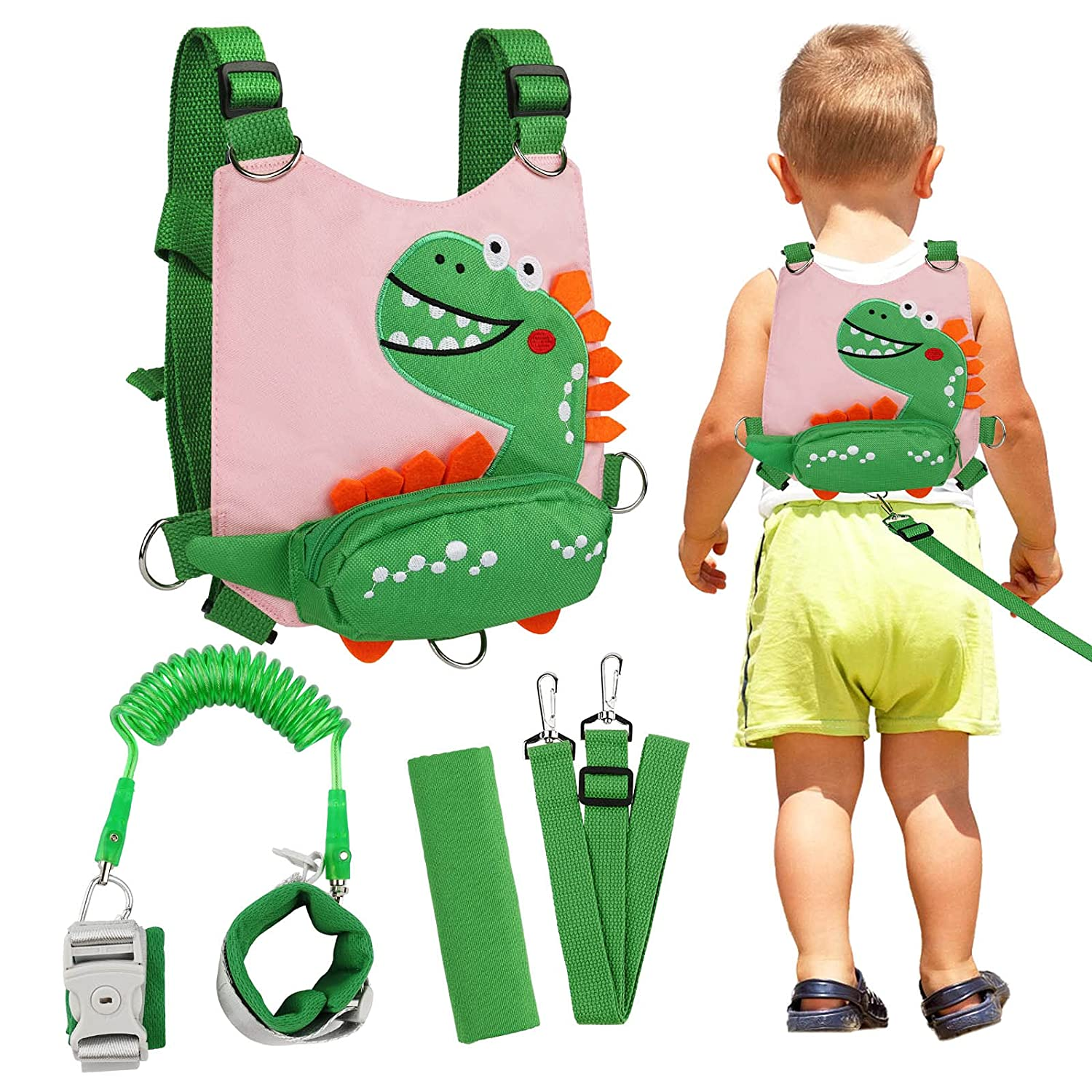 Toddler Backpack Leash Dinosaur 4-in-1 Anti Lost Wrist Link with Lock Harness Leashes for Kids, Zhiwei Child Safety Leash Wristband Walking Assistant Strap Belt for Baby Boys Girls (Pink)