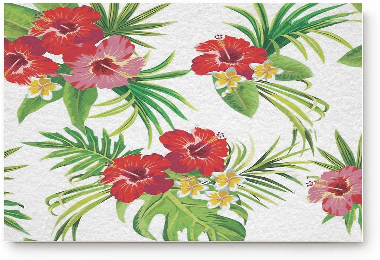 Prironde Doormat Indoor Welcome Mat Vibrant Tropical Plants Rainforest Flowers Floor Mat Rug Non Slip Office Bedroom Front Door Bathroom Mats 20x31.5inch Entrance Mat Entrance Mat