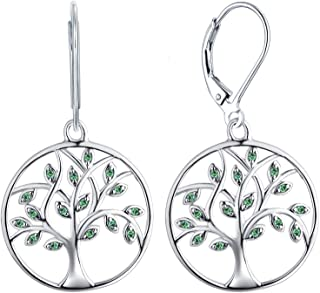 YL Tree of Life Dangle Earrings Sterling Silver Circle Drop Earring Created Emerald Green Jewelry