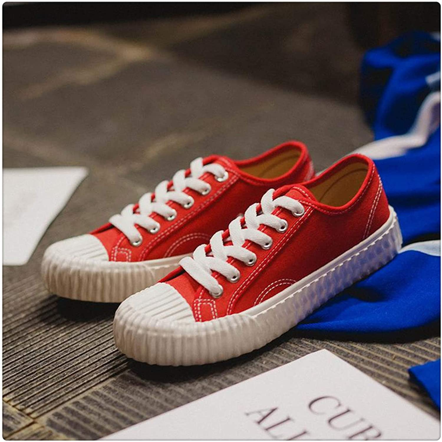 LUSDO& Women Casual Sneakers 2019 White Canvas shoes Female Spring Summer Woman Students Walking shoes shoes Tenis Feminino Red 41