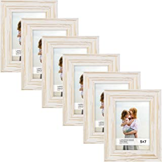 Langdon House 5x7 Real Wood Picture Frames (6 Pack, Weathered White - Gold Accents), White Wooden Photo Frame 5 x 7, Wall Mount or Table Top, Set of 6 Lumina Collection