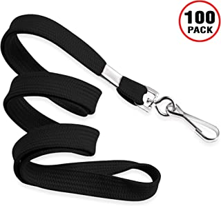 MIFFLIN Flat Lanyards for ID Badges (Black, 36 Inch, 100 Pack), Comfortable Neck Straps