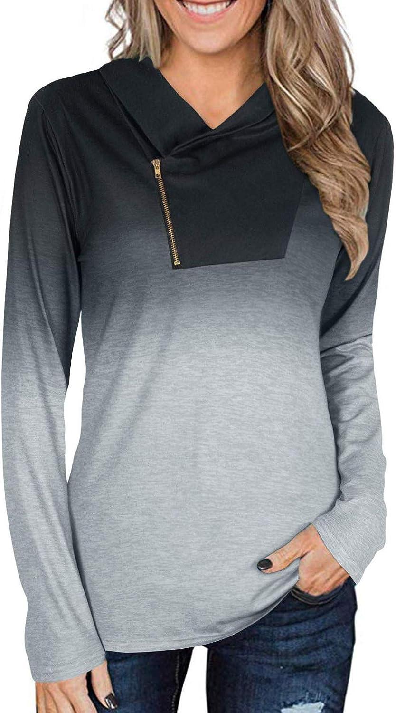 SGAOGEW Women's Pullover half Hoodies Sleeve Sweatshirts Long 4 years warranty Drawstr