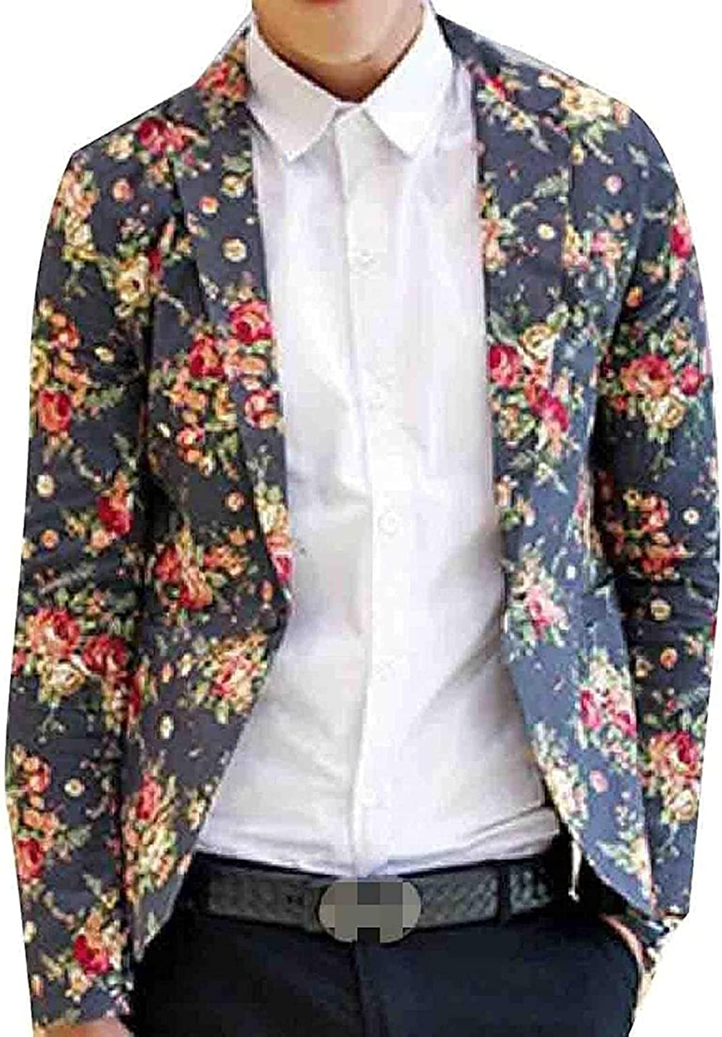 Men 1 Button Safety and trust Flower Printed Max 63% OFF Coats Coat Blazers Sports Blazer