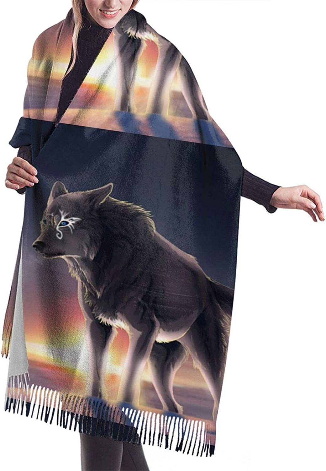 Wolf Cashmere Feel Scarf Lightweight Soft Scarfs For Boys Girls Creative Warm Cold Weather Blanket Scarf