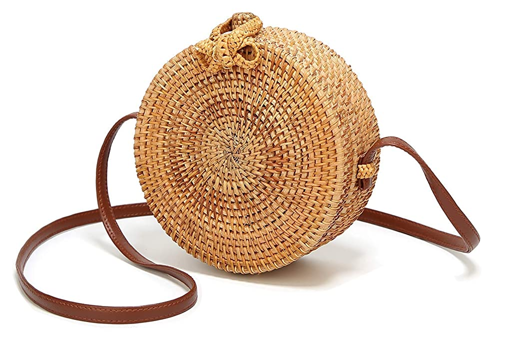 Handwoven Round Rattan Bags Woven Shoulder Straw bag Top Handle Summer Beach Crossboby bag