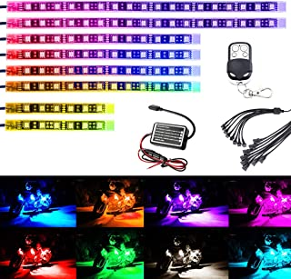 AMBOTHER ledテープ バイク用 RGB 全15色切替 汎用 装飾イルミネーション 5050SMD 防水 8本セット DC12V RFリモコン付き