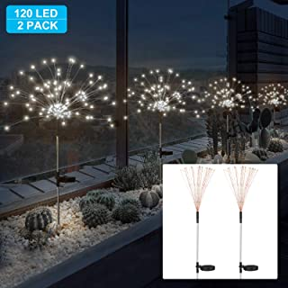 SUNJOYCO 2 Pack Outdoor Home Decor Solar Powered Flowers Firework Lights, Waterproof DIY 40 Copper Wire Dimmable Auto ON-Off 120 LED Lights for Garden Patio Yard Pathway Lawn Party (White)