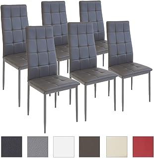 Albatros Silla Rimini, Set de 6 sillas, Gris, certificada por la SGS, Silla de Comedor