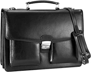 DanPi Leather Briefcase for Men Cowhide Laptop Briefcase with Lock 14 inch Black