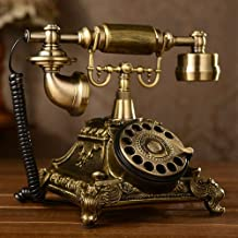 $68 » Retro Vintage Antique Resin Telephone,Old Fashion Home Phones with Mechanical Ringer (Gold)