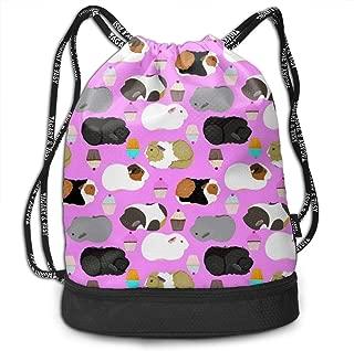 Men & Women Drawstring Backpack Theft Proof Lightweight Beam Bag, School Rucksack - Guinea Pigs And Cupcakes Waterproof Backpack Soccer Basketball Bag