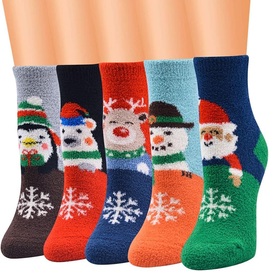 Lnrueg Lovely Simple Decorative Cartoon Home Indoor Winter Girls Christmas Crew Socks Warm 5 Pairs Soft Xmas Dress Socks Holiday Socks