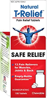 T-Relief Pain Relief Tablets with Arnica | Homeopathic Formula for Minor Joint Pain, Back Pain, Muscle Pain, Nerve Pain and Arthritis Pain - 100 Tablets