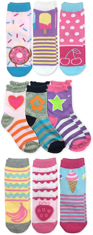 Jefferies Socks Girls Sweet Treats Ice Cream Donut Pattern Fashion Novelty Crew Socks 9 Pair Pack