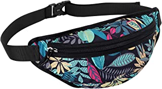 Unisex Fanny packs, Quick Release Buckle Waist Fanny Pack Bag for Outdoors Sport Workout Traveling Casual Running Hiking Cycling Gym with Adjustable Strap (Blue maple leaves)
