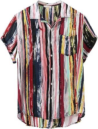 Mens Short Sleeve Shirts Printed Color Stripe Button Down High Low Hem Loose Casual Pullover Tees Hawaiian Beach Sports Running T-Shirt Tops