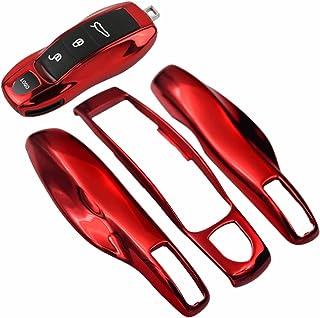 غطاء حماية خلفي ذكي أحمر من الكروم + غطاء جانبي لبورش بوكستر توربو كايين باناميرا ماكان كايمان 911 918 996 997 991