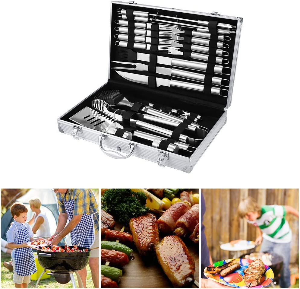 LWQ Accueil BBQ Grill Ensemble D'outils, Barbecue en Acier Inoxydable Grill Accessoires Ustensiles Kit Portable en Cas,20pcs 5pcs