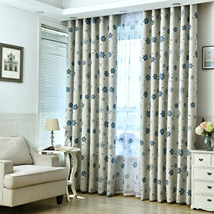 Top Finel Blackout Curtains Eyelet Thermal Insulated Window Blinds Drapes Blue Flower For Bedroom Living Room Kitchen Home Decor, 140x160 CM, 54x63 Inch, 2 Panels