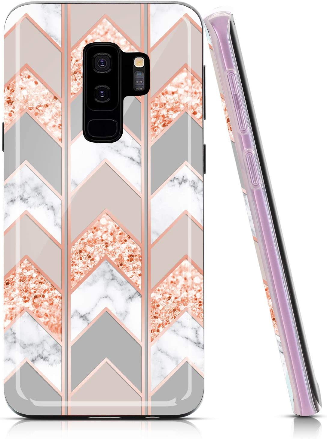 BAISRKE Marble Case for Galaxy S9 Plus, Shiny Rose Gold Lines Wave Geometric Design Case Slim Soft TPU Rubber Bumper Silicone Protective Phone Case Cover for Samsung Galaxy S9+ Plus [Pink]