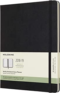 Moleskine Classic 18 Month 2018-2019 Weekly Planner, Hard Cover, XL (7.5