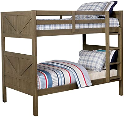 Benjara Wooden Bunk Bed with Attached Ladder, Brown