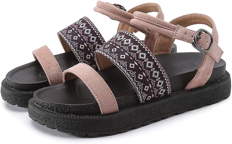 Women Sandals Flats Fashion Bohemia shoes Women Slides Buckle Rome Retro Lady Casual Peep Toe Plus Size 34-43
