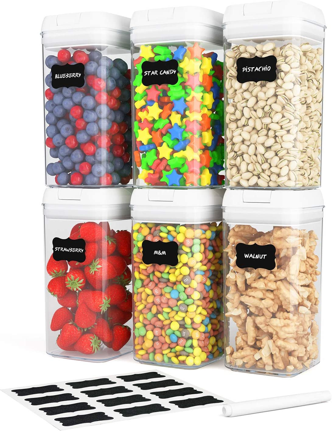 6 Pack Airtight Food Storage Container Set, Kitchen and Pantry Containers, BPA Free Containers, Keep Food Fresh, Dry and Organized, All Same Size 1.2L Each, with Improved Lids, Labels