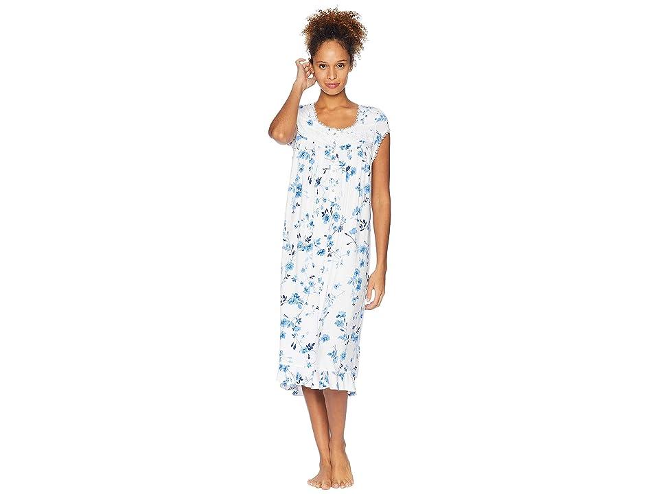 4682c5e74d Eileen West Ballet Modal Waltz Nightgown (White Ground Blue Mono Floral) Women s  Pajama