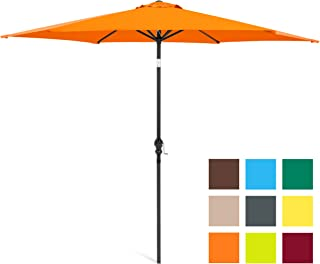 Best Choice Products 10-Foot Outdoor Table Compatible Steel Polyester Market Patio Umbrella w/Crank and Easy Push Button Tilt, Orange