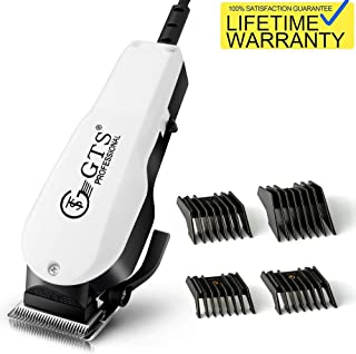 GTS Upgraded Corded Hair Clippers - Elite Pro with High Performance Electric Haircut,Trimmer,Grooming Kit for Barbers and Home Use,4 Combs&Accessories Included