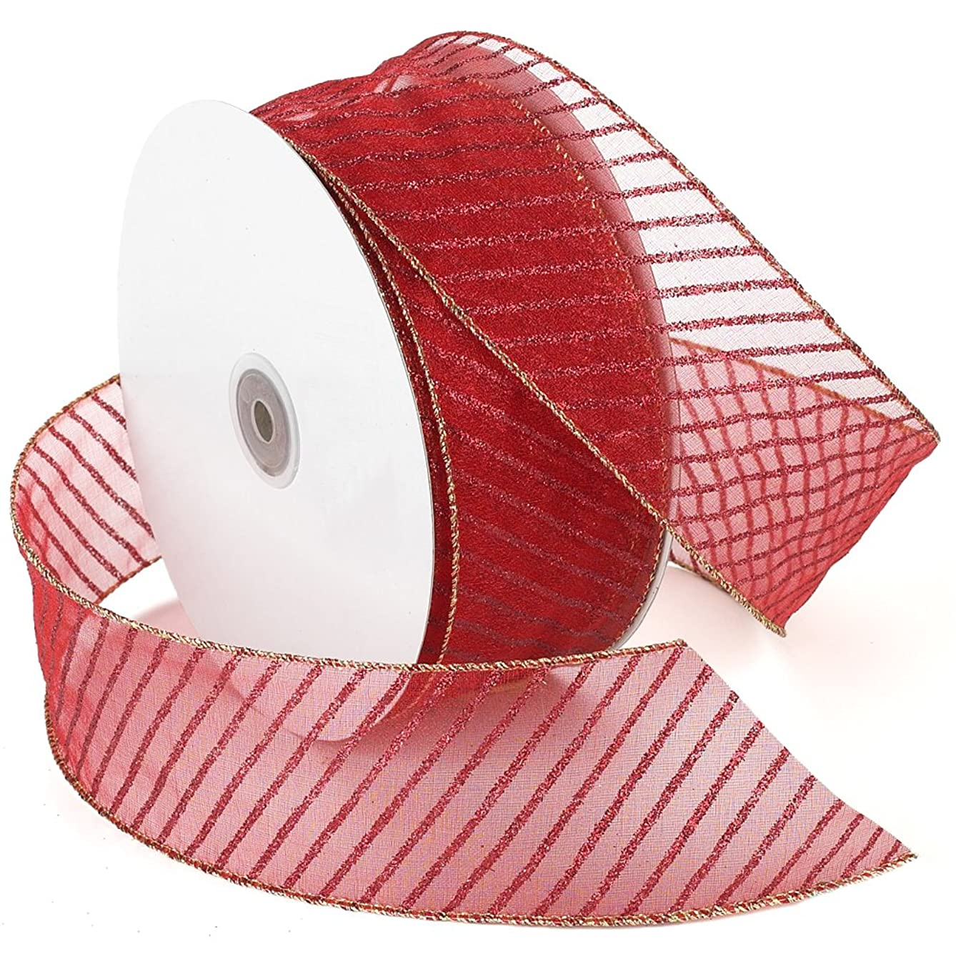Morex Ribbon Striped Wired Sheer Glitter Organza Ribbon, 2-1/2-Inch by 50-Yard Spool, Multiple Colors