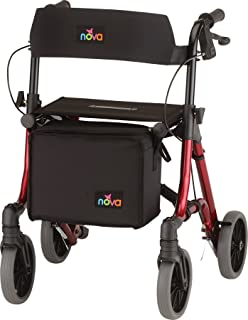 """NOVA Forte Rollator with 20"""" Seat Height, Red"""