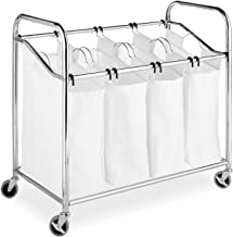 Whitmor Chrome and Canvas Four Section Laundry Sorter