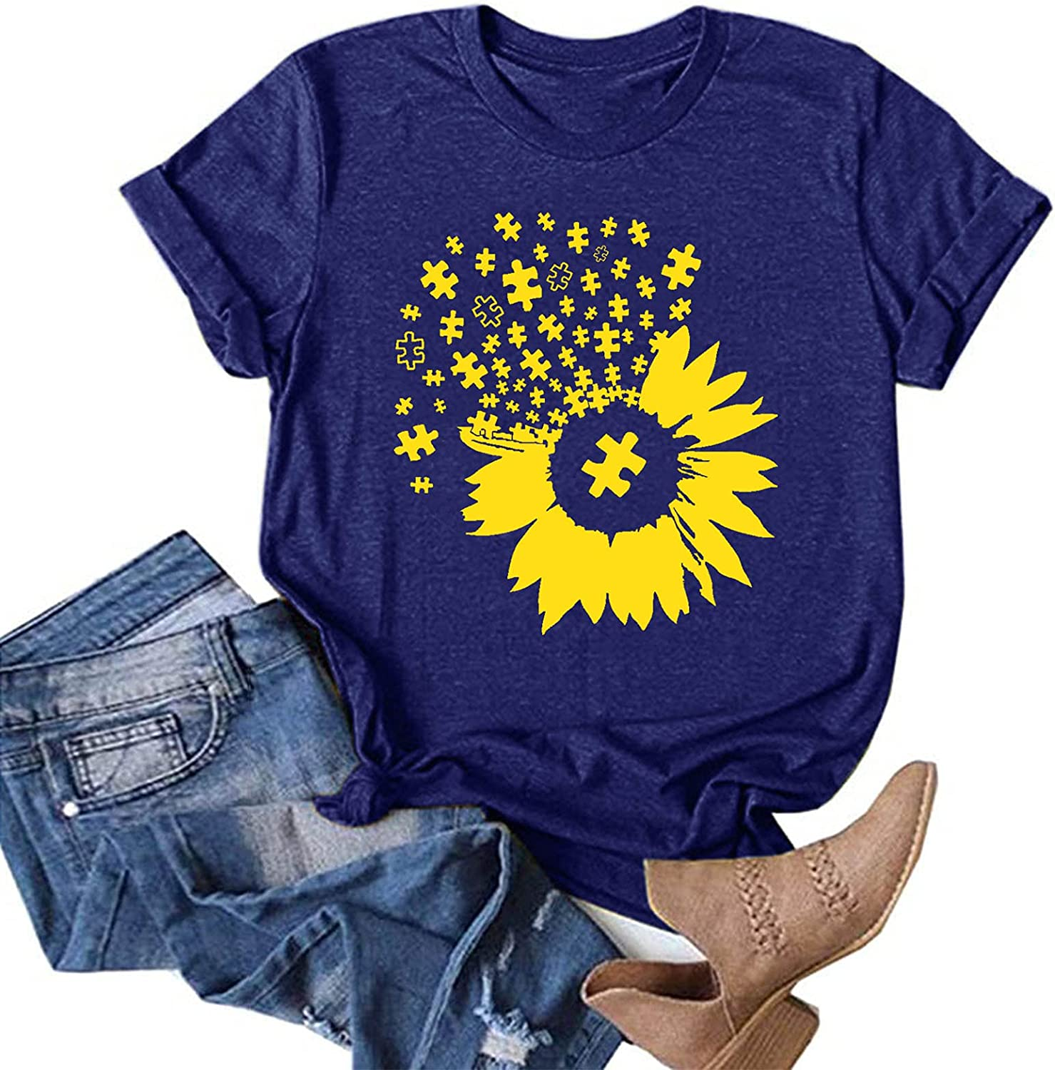AODONG Summer Tops for Women Trendy, Women's Dandelion Printing Loose Blouses Casual Tunic Tees Funny Graphic T-Shirts