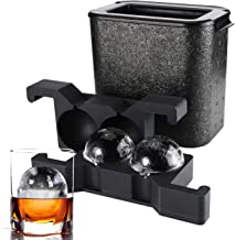 Ticent Whiskey Ice ball Molds - Crystal Clear Ice Ball Maker Large Sphere Ice Duo Trays For Whiskey, Cocktail, Brandy, Bou...