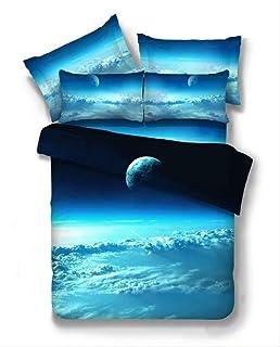 KJHYUI 3 Piezas 3D Galaxy Juegos De Cama Universo Espacio Exterior Colcha Temática Ropa De Cama Sábanas Funda De Almohada Juego De Funda Nórdica 180×220CM A