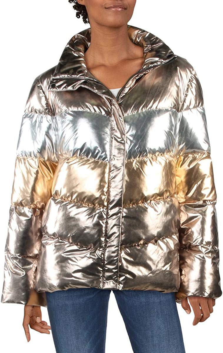 Betsey Johnson Womens Betsey's Best Quilted Metallic Puffer Jacket Gold XS