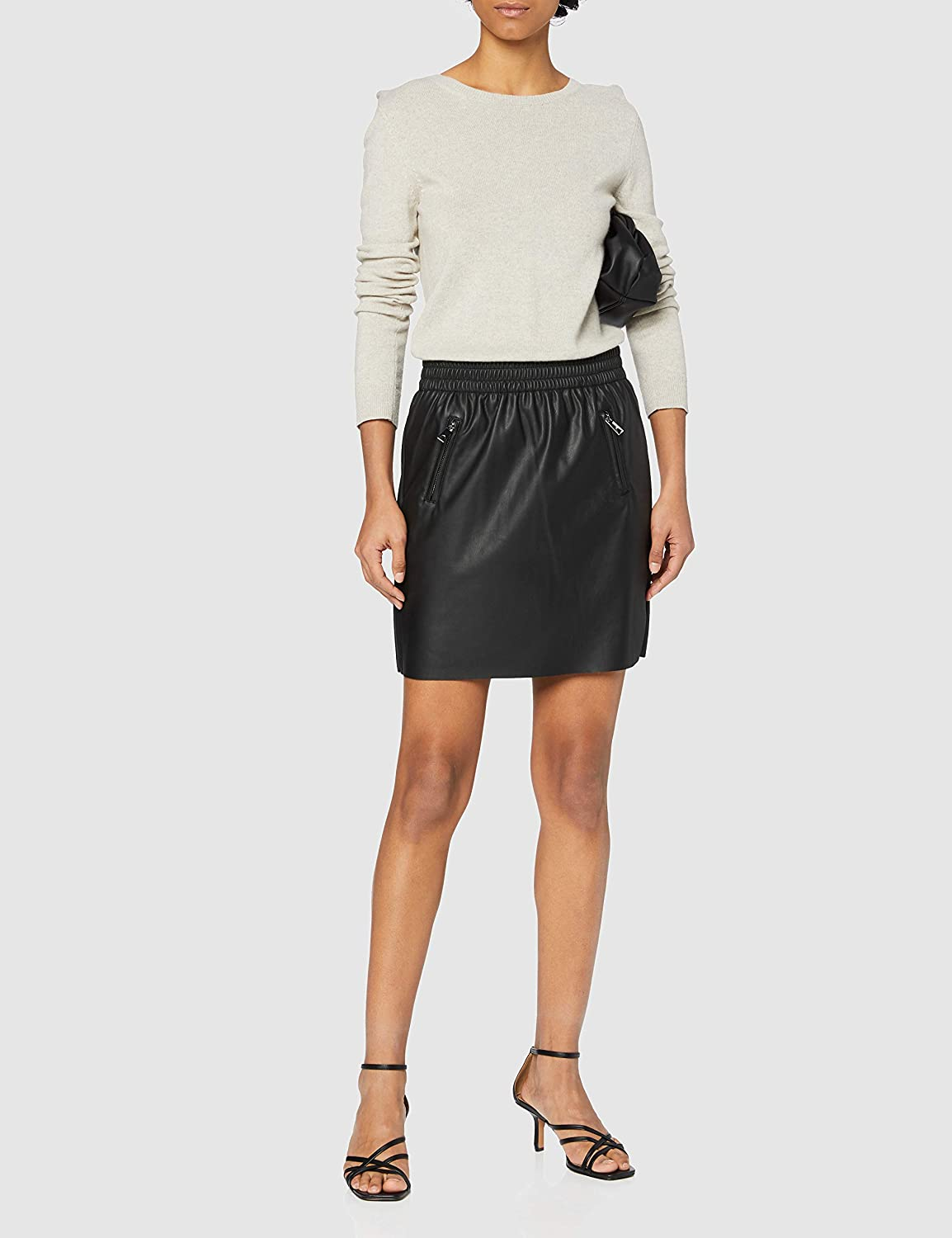 Only Onlpinzon Faux Leather Zip Skirt Pnt Gonna Donna