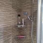 cesta de champ/ú 2 niveles soporte de pared para ba/ño Realmax/® Estante de ducha Satina de aluminio