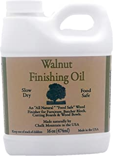 Chalk Mountain Brushes 16oz Walnut Oil Food Safe Finisher. Great for Wooden Utensils. Preserve and Beautify Unfinished Wood