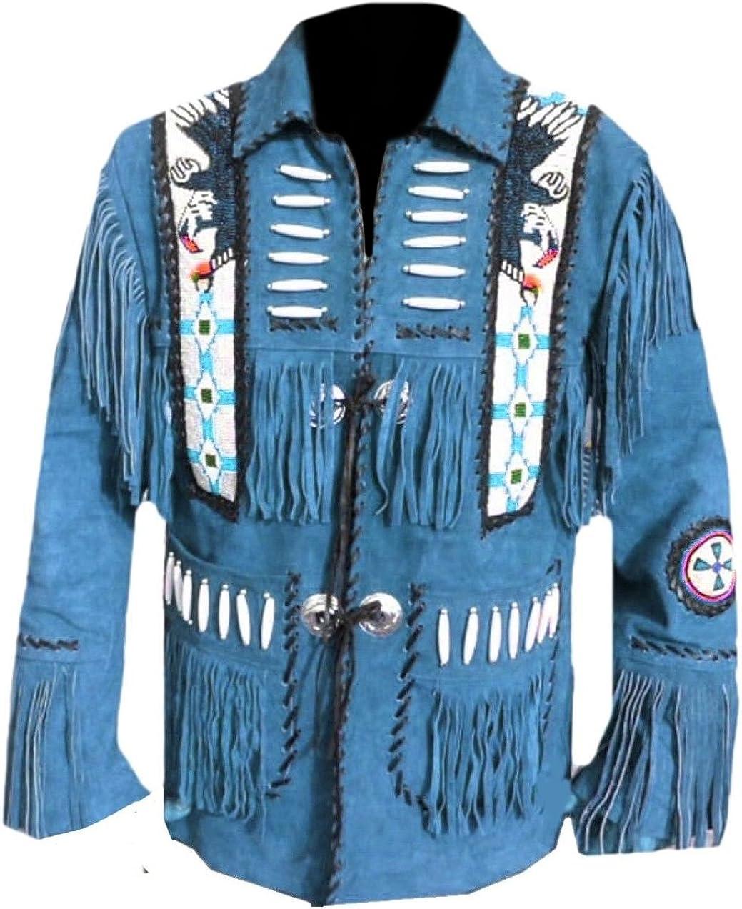 Classyak Men's Western Eagle Bead Jacket