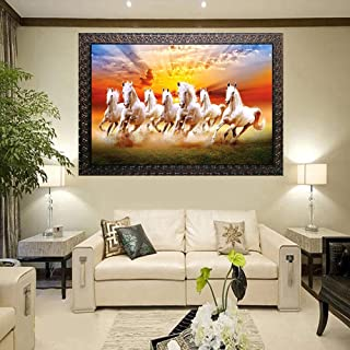 Kyara arts Big Size Beautiful Running Horse Wall Painting for Living Room, Bedroom, Office, Hotels, Drawing Room Wooden Fr...